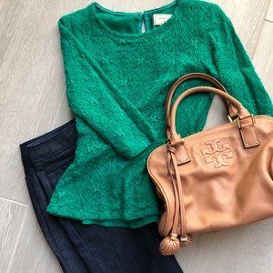 Anthropologie Green Lace Peplum Top Sz2